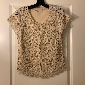 BCBG Crochet short sleeve shirt size S